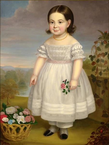 Wall Art - Painting - Portrait Of A Little Girl In White Dress With Basket Of Flowers by Attributed to Hannah Fairfield