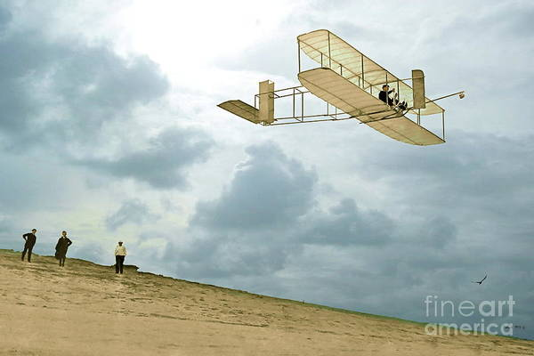 St Louis Cardinals Mixed Media - Orville Wright Soars Above Kill Devil Hill by Thomas Pollart