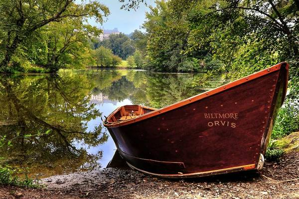 Photograph - Orvis Rowboat And Biltmore Reflection by Carol Montoya