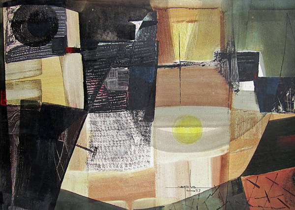 Abstractionism Painting - Os1957bo006 Abstract Landscape Of Potosi Bolivia 21.6 X 31.3 by Alfredo Da Silva