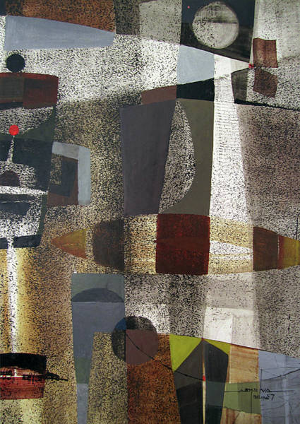 Abstractionism Painting - Os1957bo016 Abstract Landscape Of Potosi Bolivia 20.3 X 28.9 by Alfredo Da Silva