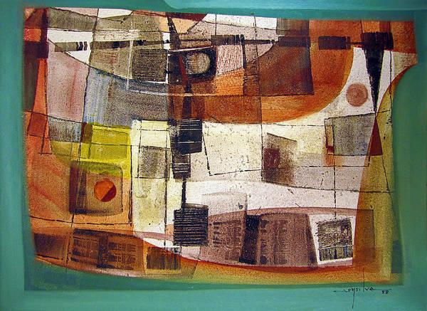 Abstractionism Painting - Os1958bo002 Abstract Landscape Potosi 23.5x16.75 by Alfredo Da Silva