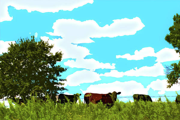 Digital Art - Osage County Cows by Susan Vineyard