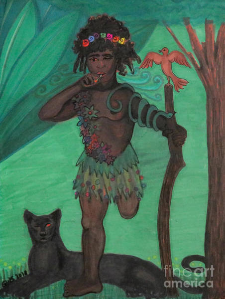 Art Print featuring the drawing Osain by Gabrielle Wilson-Sealy