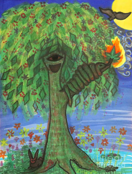 Art Print featuring the drawing Osain Tree by Gabrielle Wilson-Sealy