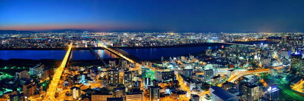 Wall Art - Photograph - Osaka Night Rooftop View by Songquan Deng