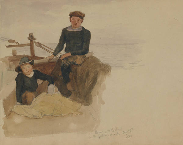 Drawing - Oscar And Bobino On The Fishing Smack by John Singer Sargent