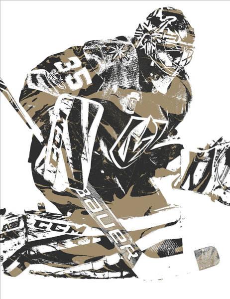 Golden Mixed Media - Oscar Dansk Vegas Golden Knights Pixel Art 2 by Joe Hamilton