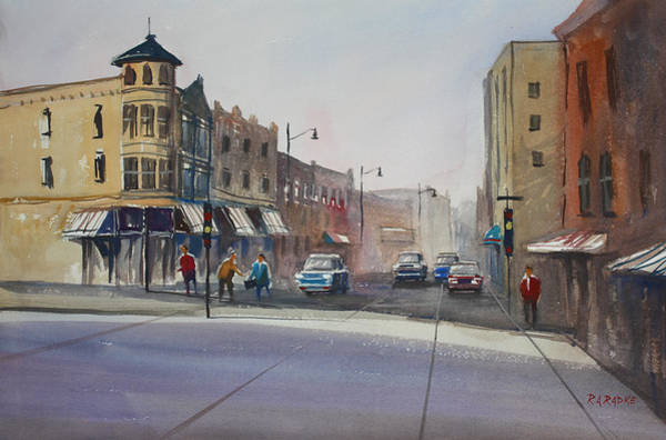 City Scene Painting - Oshkosh - Main Street by Ryan Radke