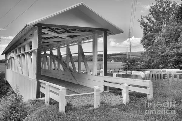 Osterburg Photograph - Osterburg Covered Bridge Black And White by Adam Jewell