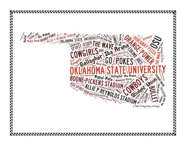 Pokes Wall Art - Digital Art - Osu Oklahoma State Words by Bert Peake