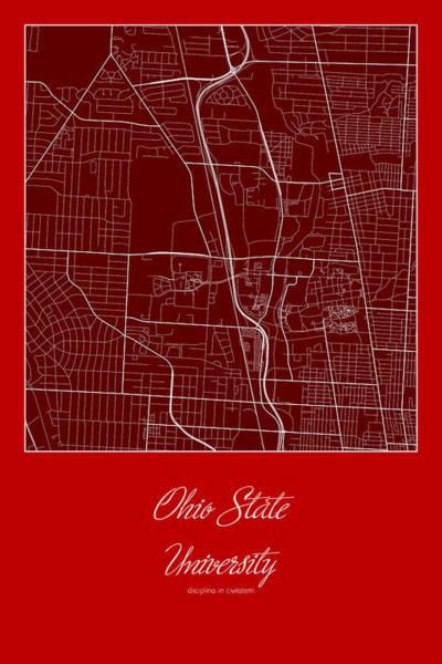 Osu Digital Art - Osu Street Map - Ohio State University Columbus Map by Jurq Studio