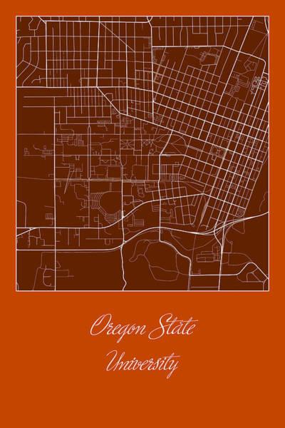 Osu Digital Art - Osu Street Map - Oregon State University Corvallis Map by Jurq Studio