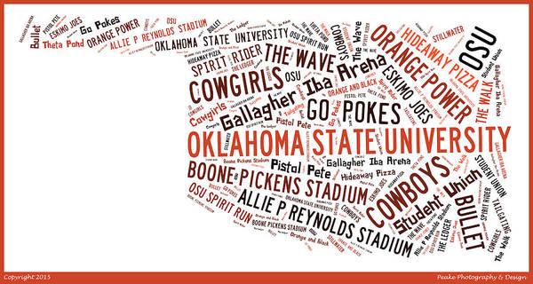 Osu Digital Art - Osu Word Art Oklahoma State University  by Bert Peake
