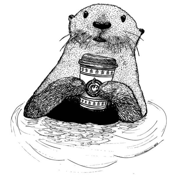 Wet Drawing - Otter Drinking Coffee by Karl Addison