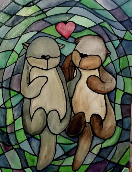 Painting - Otters by Carole Hutchison