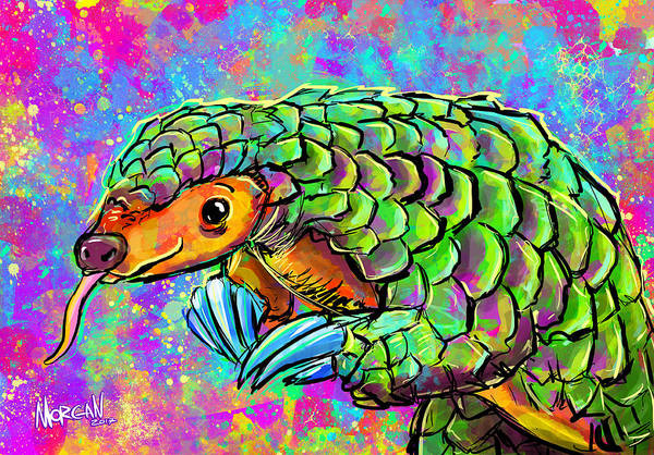 Hong Digital Art - Pangolin by Morgan Richardson