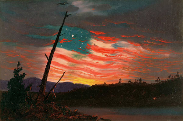Patriotism Painting - Our Banner In Sky by Frederic Edwin Church