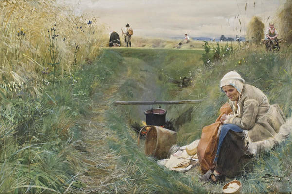 Grass Field Drawing - Our Daily Bread by Anders Zorn