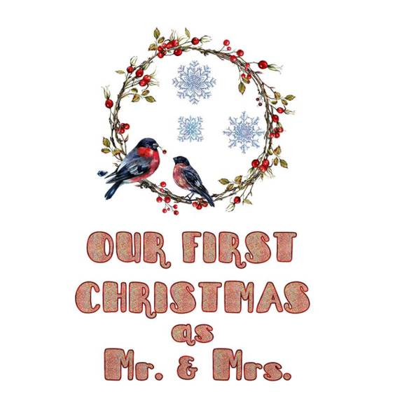 Painting - Our First Christmas Watercolor Bullfinches by Georgeta Blanaru