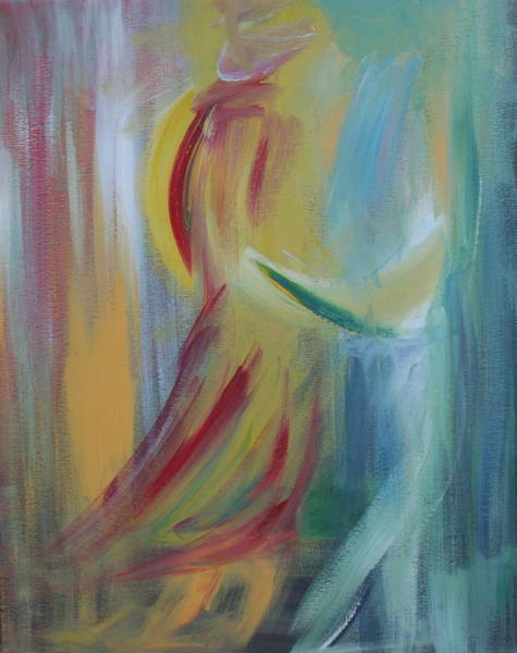 Dancing Men Painting - Our First Dance by Julie Lueders