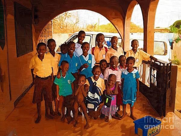 Ghana Painting - Our Kids In Ghana by Deborah Selib-Haig DMacq