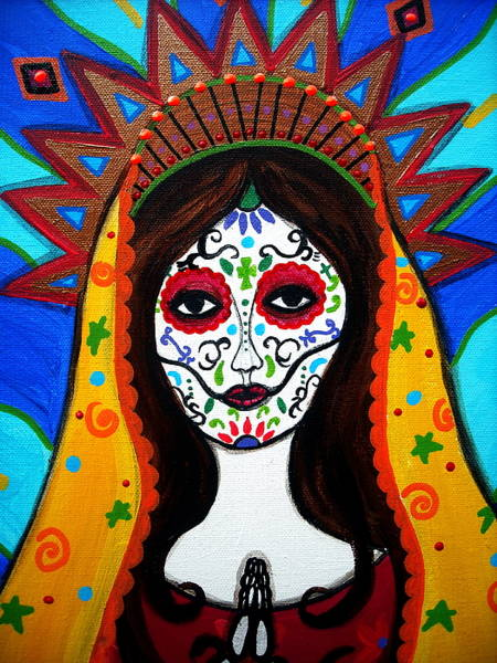 Painting - Our Lady Of Guadalupe Dia De Los Muertos by Pristine Cartera Turkus