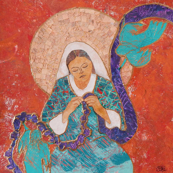 Catholic Mixed Media - Our Lady Undoer Of Knots by Carol Cole