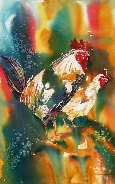 Painting - Our Neighbors Roosters by Tara Moorman