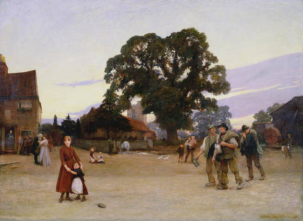 Town Square Wall Art - Painting - Our Village by Hubert von Herkomer