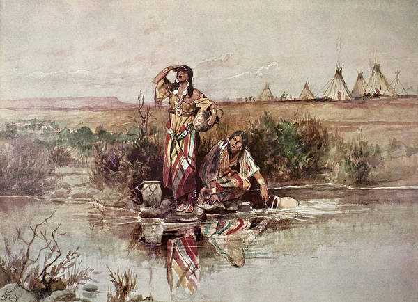 Indian Camp Painting - Our Warriors Return by Charles Marion Russell