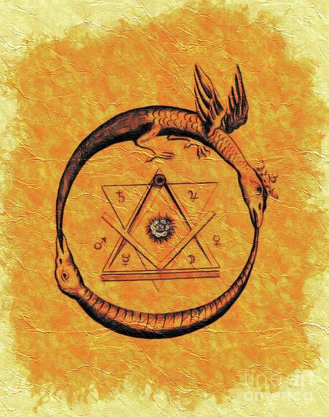 Serpent Painting - Ouroboros, Freemasonic Symbol by Pierre Blanchard