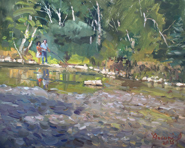 Glen Wall Art - Painting - Out Fishing With Viola  by Ylli Haruni
