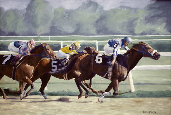 Thoroughbred Racing Wall Art - Painting - Out In Front by Linda Tenukas