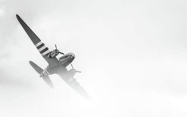 Vintage Airplane Photograph - Out Of The Fog by Martin Newman