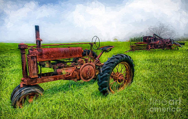 Vintage Tractor Painting - Out To Pasture II by Dan Carmichael