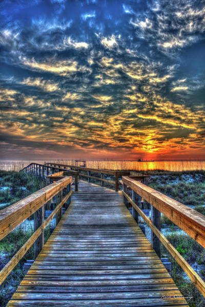 Photograph - Walkway To The Sea Tybee Island Georgia Sunrise Seascape Art by Reid Callaway