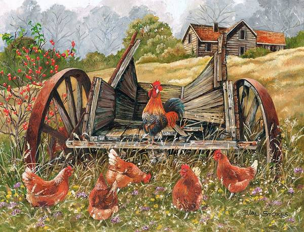 Painting - Waggon Pals by Val Stokes