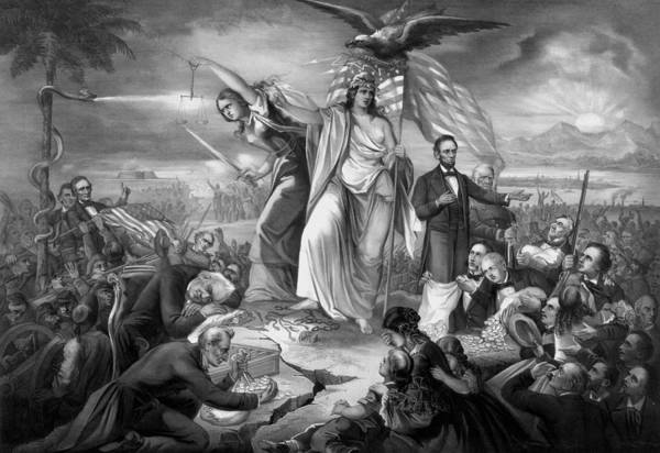 United States Presidents Drawing - Outbreak Of Rebellion In The United States 1861 by War Is Hell Store