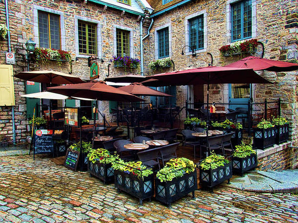 Quebec City Photograph - Outdoor French Cafe In Old Quebec City by David Smith