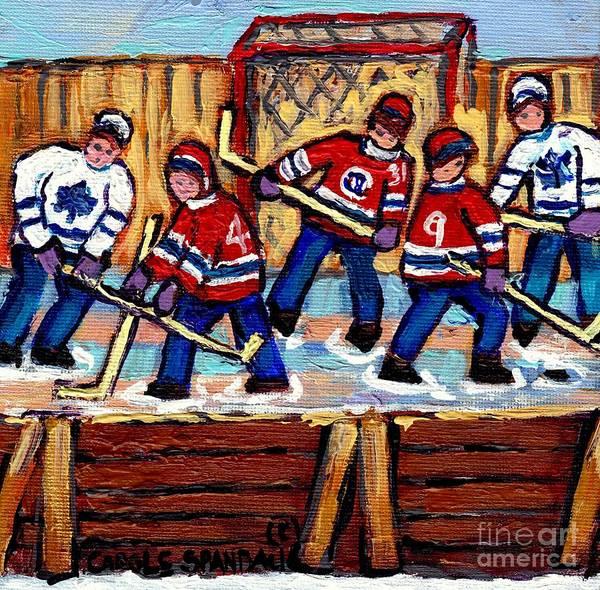 Painting - Pointe St Charles Hockey Rink Painting Leafs Vs Habs Quebec Winter Scene Hockey Art Carole Spandau by Carole Spandau