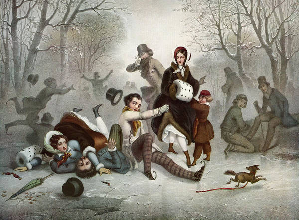 Wall Art - Drawing - Outdoor Ice Skating In The 19th by Vintage Design Pics