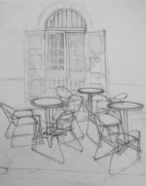 Drawing - Outdoor Seating - Pirates Alley - French Quarter by Jani Freimann
