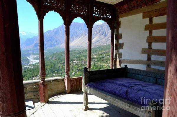 Ice Carving Photograph - Outdoors Wooden Room Baltit Fort Karimabad Hunza Gilgit Baltistan Pakistan by Imran Ahmed