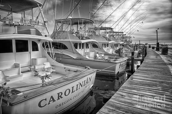 Wall Art - Photograph - Outer Banks Fishing Boats Waiting Bw by Dan Carmichael