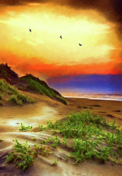 Wall Art - Painting - Outer Banks Sand Dune Sunrise Ap by Dan Carmichael