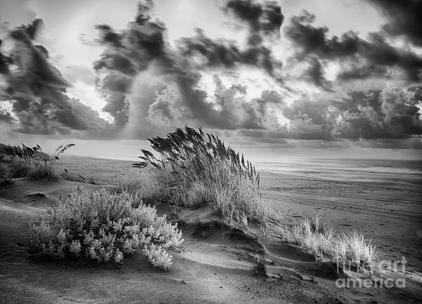 Wall Art - Photograph - Outer Banks - Stormy Summer Sunrise Bw by Dan Carmichael