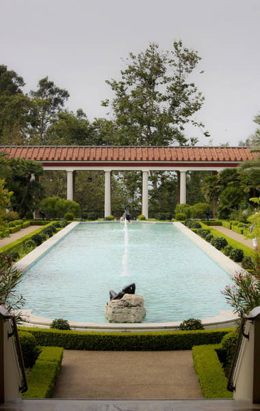 Wall Art - Photograph - Outer Peristyle Pool And Fountain Getty Villa by Teresa Mucha