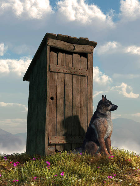 Outhouse Guardian - German Shepherd Version Art Print