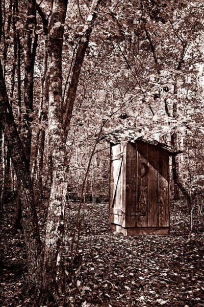 Cloudland Canyon Photograph - Outhouse In The Forest In Sepia by Debra and Dave Vanderlaan